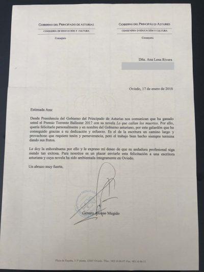 Agradecimiento Principado de Asturias