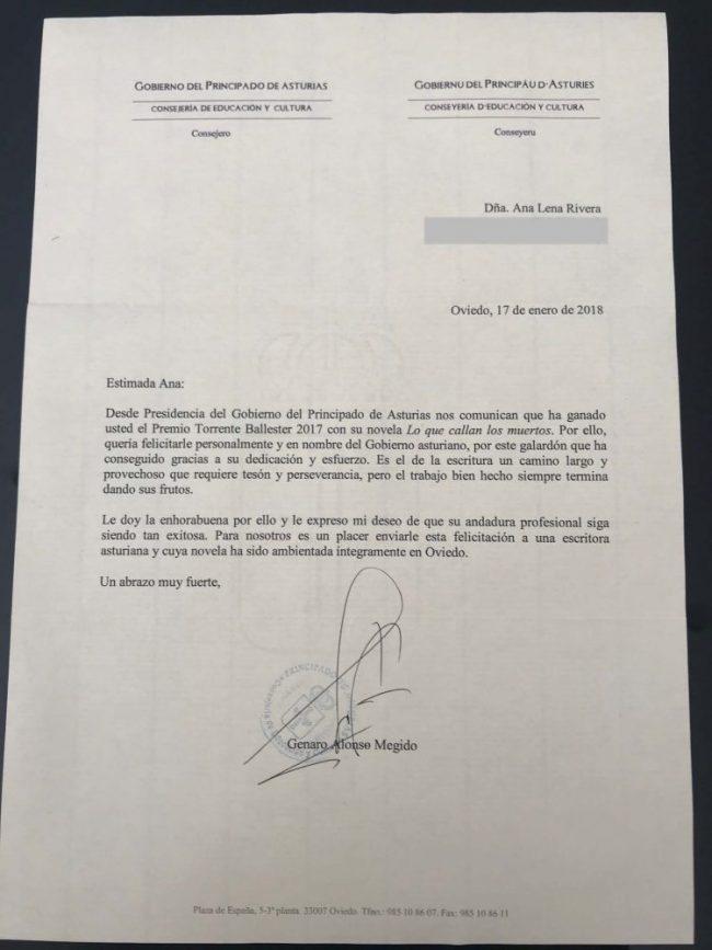 Carta de agradecimiento del Principado de Asturias