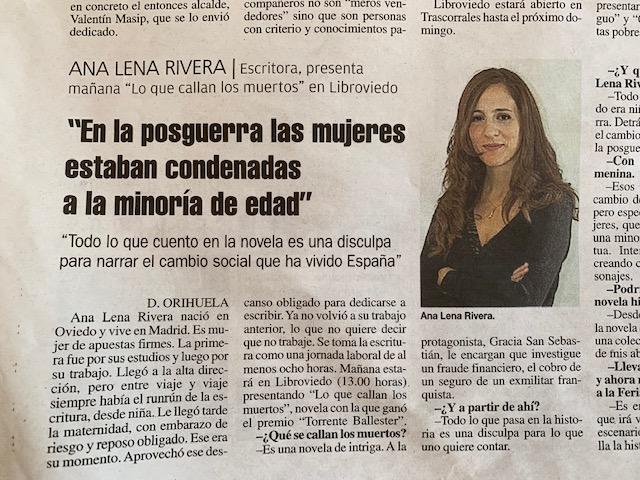 Entrevista en La Nueva España con motivo de LibrOviedo 2019